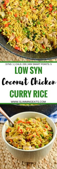 Slimming Eats Low Syn Coconut Chicken Curry Rice - gluten free dairy free vegetarian Slimming World and Weight Watchers friendly - just 1 syn per serving 230 calories or 5 smart points Slimming World Dinners, Slimming World Recipes Syn Free, Slimming Eats, Slimming World Lunch Ideas, Slimming World Chicken Recipes, Actifry Recipes Slimming World, Slimming World Free, Slimming World Breakfast, Curry Recipes