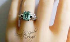 Seriously I want this ring!   Aquamarine and White Sapphire Skull by CarolynNicoleDesigns