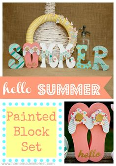 Summer Block Set {www.homemadeinterest.com}   Perfect addition to spruce your mantel for summer. @Matty Chuah Wood Connection #wood #summer #crafts #craft #mantel #woodconnection @woodconnection