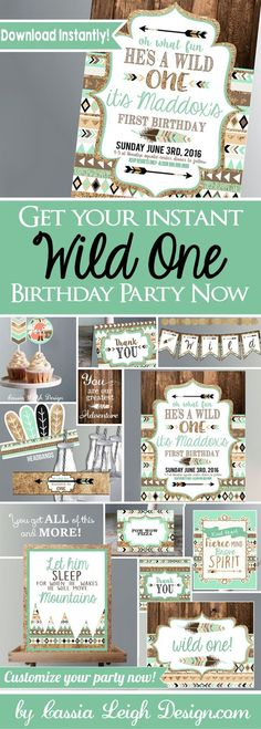These Brown Mint and Gold - Tribal Wild One Party Decor AND Invitations will make your little boys First Birthday Party the most ADORABLE and Wild party ever! With the Instant download, now you dont have to wait! **Real quick: I have finally added a BEAUTIFUL coordinating Birthday Chalkboard Sign with all of your little ones accomplishments for a decoration, photo prop and especially a keepsake to cherish for years to come here: http://etsy.me/2eUru71 I also have this is an...