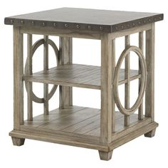 Showcasing eye-catching openwork sides and nailhead trim, this wood end table pairs rustic style with a touch of bold appeal. Let it anchor a chic lamp in yo...