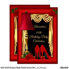 Shop Red Gold Drapes High Heels Roses Birthday Party Invitation created by Zizzago. Easy Birthday Party Games, Red Birthday Party, Elegant Birthday Party, Birthday Party Celebration, Birthday Ideas, Birthday Gifts, Bachelorette Party Invitations, Birthday Party Invitations, Backyard Birthday