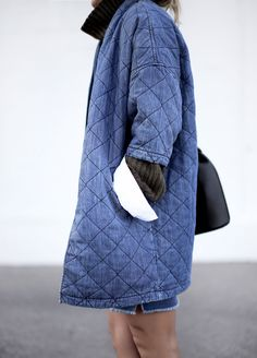 Max Jeans loves this coat, Mary Seng of Happily Grey styles the Current/Elliott Quilted Car Coat -- now back up by popular demand! Fashion Moda, Denim Fashion, Look Fashion, Winter Fashion, Womens Fashion, Street Fashion, Looks Style, Style Me, Denim Mantel