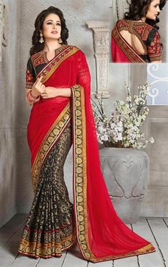 Picture of Admirable Red and Black Color Saree