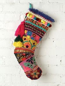 free people christmas stocking | Free-People-Christmas-Stocking-NEW-Holiday-India-Colourful-Patterned ...