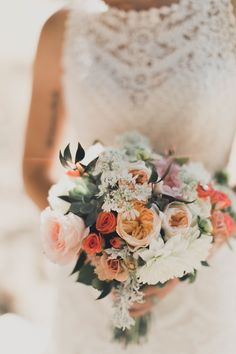 Blush and peach wedding bouquet | Image by From The Daisies