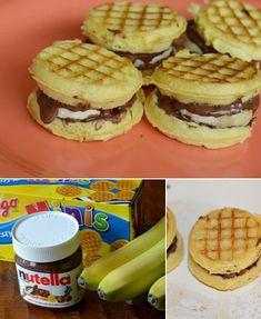 Banana Nutella & Waffle Bites