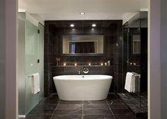 a sleek take on the stand alone bathtub.