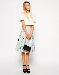 ASOS Premium Bonded Scuba Midi Skirt In Cartoon Print