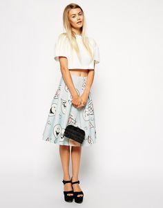 ASOS Premium Bonded Scuba Midi Skirt In Cartoon Print