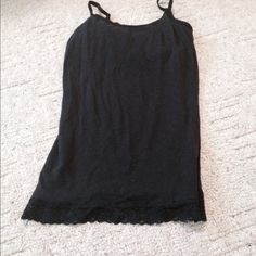 Black tank Black tank top with lace around bottom Tops Tank Tops