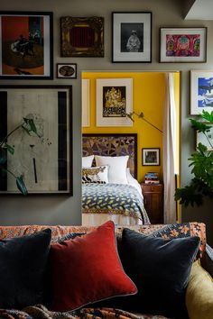 Designer Sophie Ashby's characterful mid-century modern flat in west London'. Designer Sophie Ashby's characterful mid-century modern flat in west London's former BBC building Wall Paint Combination, Small Sitting Rooms, Couples Apartment, One Bedroom Flat, Style Deco, Soho House, Brown Furniture, Farrow Ball, Yellow Walls