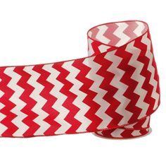 """The Jolly Christmas Shop - 5"""" Chevron Red and White Wired Ribbon, $19.99 (http://www.thejollychristmasshop.com/5-chevron-red-and-white-wired-ribbon/)"""