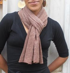 Asymmetrical wool jersey scarf light brown by FashionAndScarves