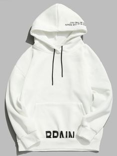 Buy Letter Printed Drawstring Pullover Fleece Hoodie This hoodie is Made To Order, one by one printed so we can control the quality. We use newest DTG Technology to print on to Letter Printed Drawstring Pullover Fleece Hoodie Pullover, Fleece Hoodie, Stylish Hoodies, Mens Sweatshirts, Men's Hoodies, Hoodie Outfit, Apparel Design, Men's Apparel, White Hoodie