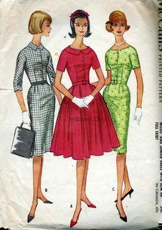 Vintage 1960s Shirtwaist Dress Pattern completo o Slim