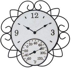 Garden Treasures Indoor Outdoor Ivory and Rusty Steel Modern Thermometer Clock  #GardenTreasures