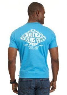 Nautica Jeans Company  Short Sleeve Diamond Crew Neck Tee