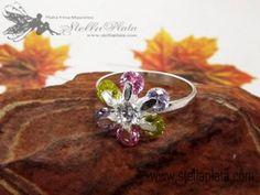Anillo Cristales Flor RD Co #8