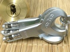 "An-Tun Door Lock with ""Spool bead Keys""! Survival Prepping, Survival Gear, Survival Skills, Techno Gadgets, Tactical Accessories, Steel Security Doors, Spy Gear, Mortise Lock, Master Key"