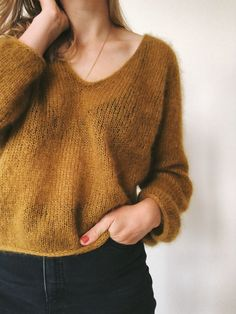 Yellow knit transparent top mohair light hand knit top yellow slim sweater women yellow sweater see Hand Knitting, Knitting Patterns, Knitting Sweaters, Pullover Outfit, I Cord, Mohair Sweater, Stockinette, Sweater Weather, Blouse