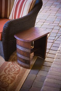 Wine Barrel Top Bench/End Table
