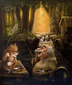 Aspundir: The Art of Alexander Vasilyevich Maskaev Art And Illustration, Fantasy Kunst, Fantasy Art, Russian Art, Pet Portraits, Cat Art, Great Artists, Photo Art, Fairy Tales