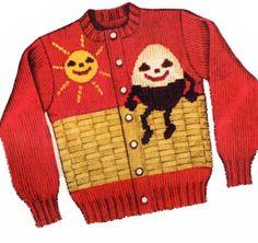 50s Knit O Graf 940 Knitting PATTERN Humpty Dumpty Cardigan pullover Sweater #KnitOGraf940