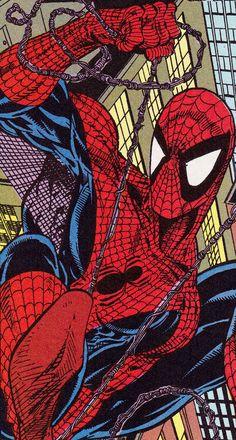 Spider-Man by Todd McFarlene Old Comic Books, Comic Book Characters, Comic Book Heroes, Spiderman Art, Amazing Spiderman, Marvel Vs, Marvel Heroes, Marvel Wallpaper, Spider Verse
