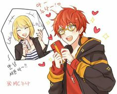 mystic messenger | mc & 707 || wow an art with him and one of the other MC's instead of just the one that shows up in all the visual novel pictures