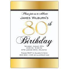 Golden Celebration 80th Birthday Invitations