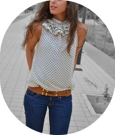 Summer outfit. Jeans-sleeveless polka dots-thick brown belt