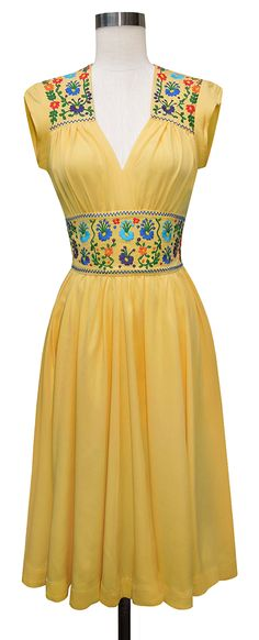 The new Trashy Diva Del Rio Dress features floral embroidery on the waistband and yokes!!!