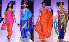 Sarees by (actor) Mandira Bedi https://www.facebook.com/MandiraBediDesigns at Lakme Fashion Week 2014