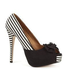 Black and White Striped Peep Toe Shoes