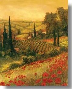 Great Big Canvas 'Toscano Valley II' Art Fronckowiak Painting Print Format: Canvas, Size: H x W x D Tuscany Landscape, Landscape Art, Landscape Paintings, Oil Paintings, Landscapes, Hand Painted Canvas, Canvas Art, Canvas Prints, Big Canvas
