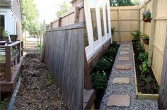 Landscaping a narrow side yard. Little House in the Big D: Projects