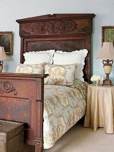 This French Country bedroom is beautiful! The antique bed, gold framed artwork, and toile bedding is stunning. French Country Rug, French Country Bedrooms, French Decor, French Country Decorating, French Style, Country Bathrooms, French Cottage, Rustic French, French Country Bedding