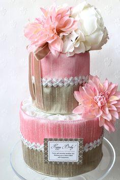 『Pink Dahlia Diaper cake』 大人可愛いダイパーケーキ(おむつケーキ) 『JourFin 』ジュール・フィン 兵庫県 芦屋プリザープドフラワー・アーティフィシャルフラワー教室&ショップ