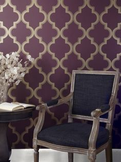 Shop at DormCo for our Marrakesh Merlot Designer Removable Wallpaper for Dorms! Dorm room wallpaper completes a dorm room decor style to make your dorm room fully feel like you're in a home away from home with plum and soft beige patterns. Eclectic Wallpaper, Bold Wallpaper, Temporary Wallpaper, Modern Wallpaper, Peel And Stick Wallpaper, Designer Wallpaper, Wallpaper Ideas, Beautiful Wallpaper, Target Wallpaper