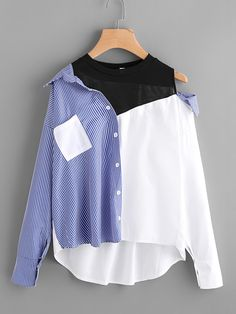 Contrast Patchwork Shirt Blouse Women Asymmetric Open Shoulder Tops Fall Striped Casual Dip Hem Shirt Multi S Teen Fashion Outfits, Mode Outfits, Trendy Outfits, Fall Outfits, Autumn Fashion 2018, Kawaii Clothes, Mode Style, Blouses For Women, Ladies Blouses