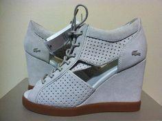Lacoste Bernelle Peep Toe 2 Off White Suede Wedge Women's Lace Up Heels 6 M #Lacoste #FashionWedgeHeelsLaceUpPeepToe