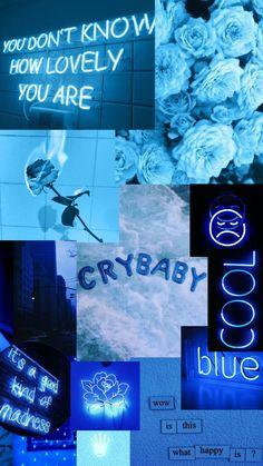 Bad Girl Wallpaper, Trippy Wallpaper, Cute Wallpaper Backgrounds, Blue Wallpapers, Wallpaper Iphone Cute, Macbook Wallpaper, Blue Aesthetic Pastel, Aesthetic Colors, Aesthetic Collage
