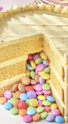 How To Make A Simple Pinata Cake ~ If your child likes a good 'ole pinata, they are going to LOVE this Pinata Cake... The suggestion is to fill with smarties but I'm sure you can fill with any of their favourite sweets
