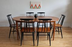 Scandinavian Teak Dining Table  Chairs by SharkGravy on Etsy