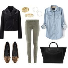 Essentials Outfits - Biker Jacket, Oliv Pants, Jeans Shirt, Leopard Loafers, Tote Bag, Golden Jewelry