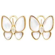 Preowned 18 Karat Yellow Gold Mother-of-pearl Diamond Butterfly... ($2,100) ❤ liked on Polyvore featuring jewelry, earrings, yellow, yellow earrings, gold jewelry, gold diamond earrings, gold jewellery and 18k yellow gold earrings