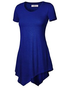 Made By Johnny Women's Short Sleeve Handkerchief Hem Tunic - List price: $28.56 Price: $9.99