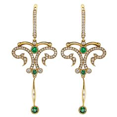 Tsavorite Diamond Gold Dangle Earrings | From a unique collection of vintage dangle earrings at https://www.1stdibs.com/jewelry/earrings/dangle-earrings/