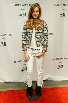 Chiara Ferragni (the blonde salad) wears Isabel Marant for H+M
